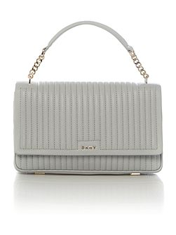 Gansevoort pinstripe light grey flapover bag