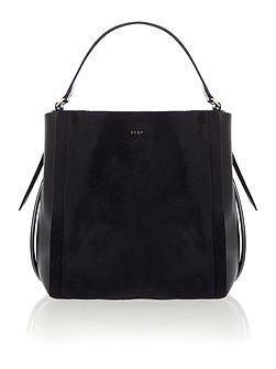 Riverside hai black/blue haircalf bucket bag