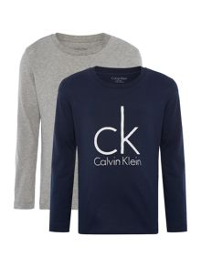Calvin Klein Boys 2 Pack Long Sleeve Big Logo T-Shirts