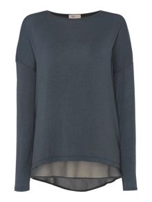 Label Lab Knit and chiffon layered top
