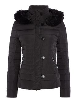 Short padded jacket with removable hood