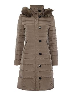 Long padded jacket with removable hood