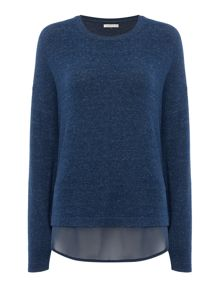 Maison De Nimes Woven Dip Hem Long Sleeve Top