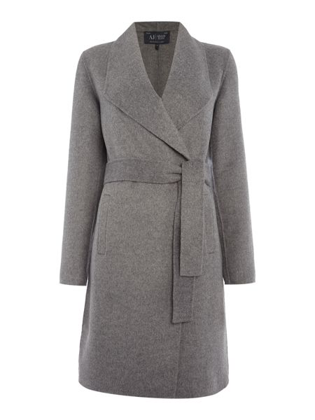 Armani Jeans Large collar wool blend belted coat