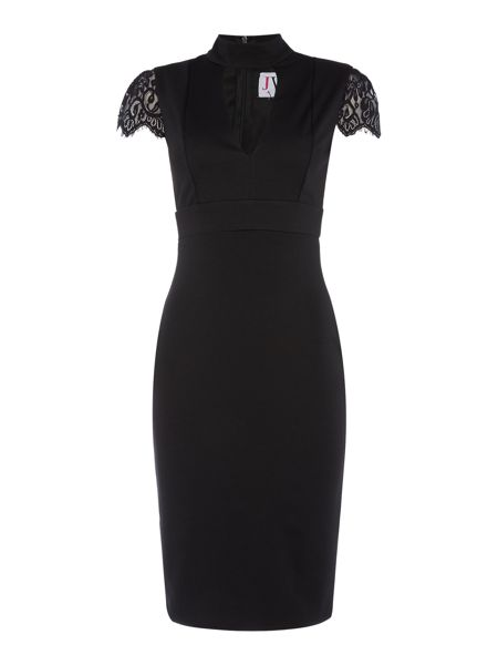 Jessica Wright Cap Sleeve Lace Choker Bodycon Dress