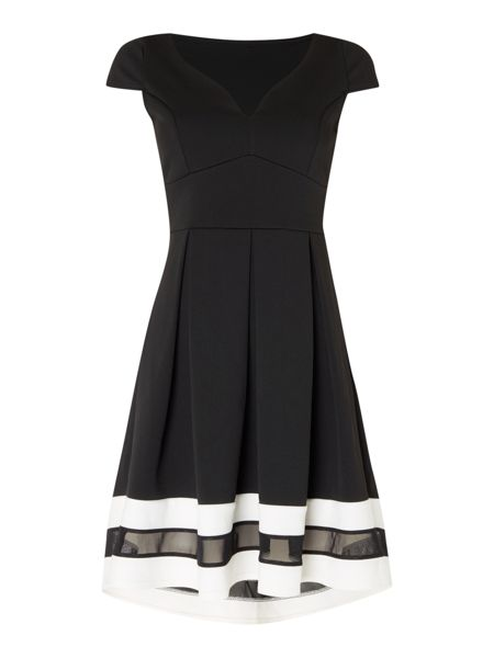 Jessica Wright Off Shoulder Monochrome Mesh Detail Dress