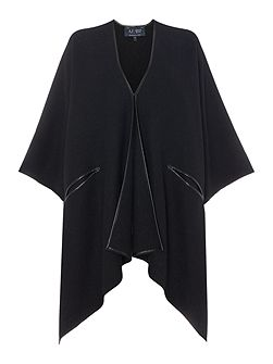 Oversized cape with faux leather edging