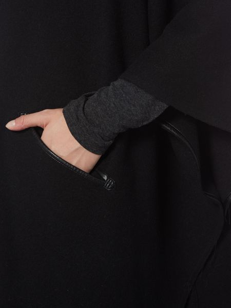 Armani Jeans Oversized cape with faux leather edging