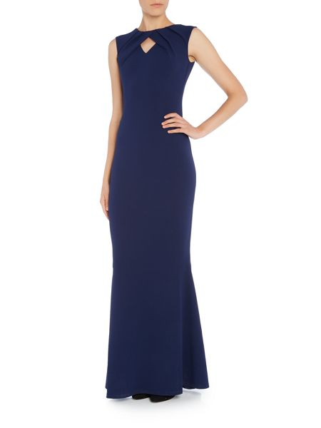Jessica Wright Cap Sleeve Cut Out Chest Bodycon Maxi Dress