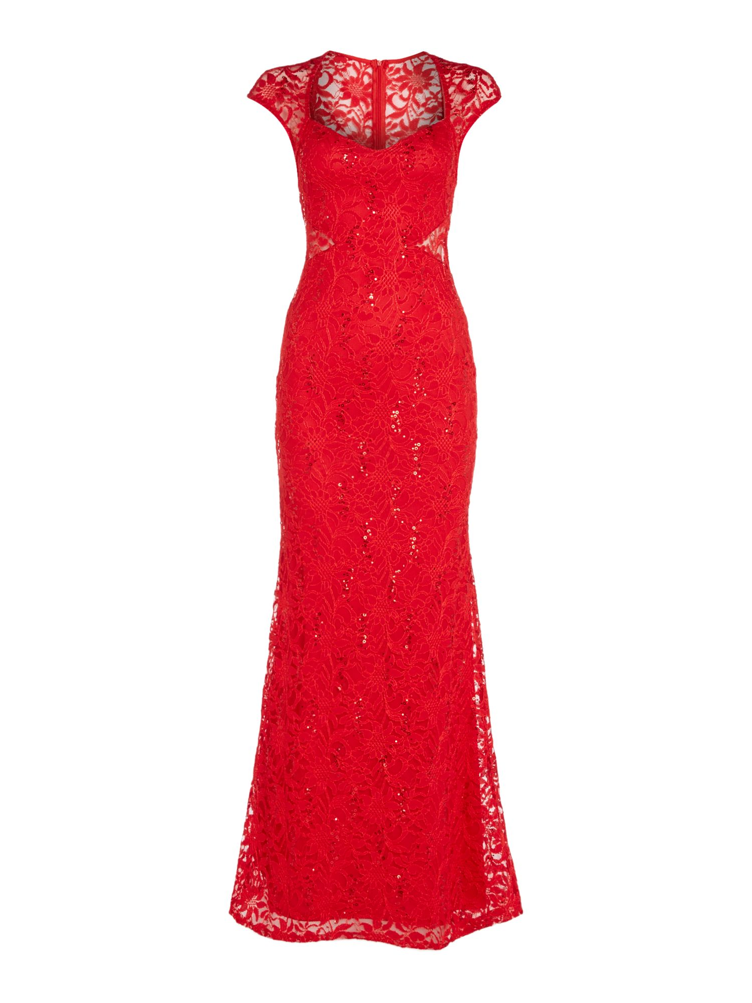 Jessica Wright Jessica Wright Cap Sleeve Sequin Maxi Dress, Red