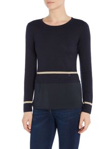 Armani Jeans Long sleeve knit with woven hem