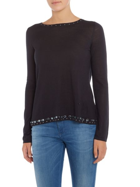 Armani Jeans Long sleeve split back stud edging