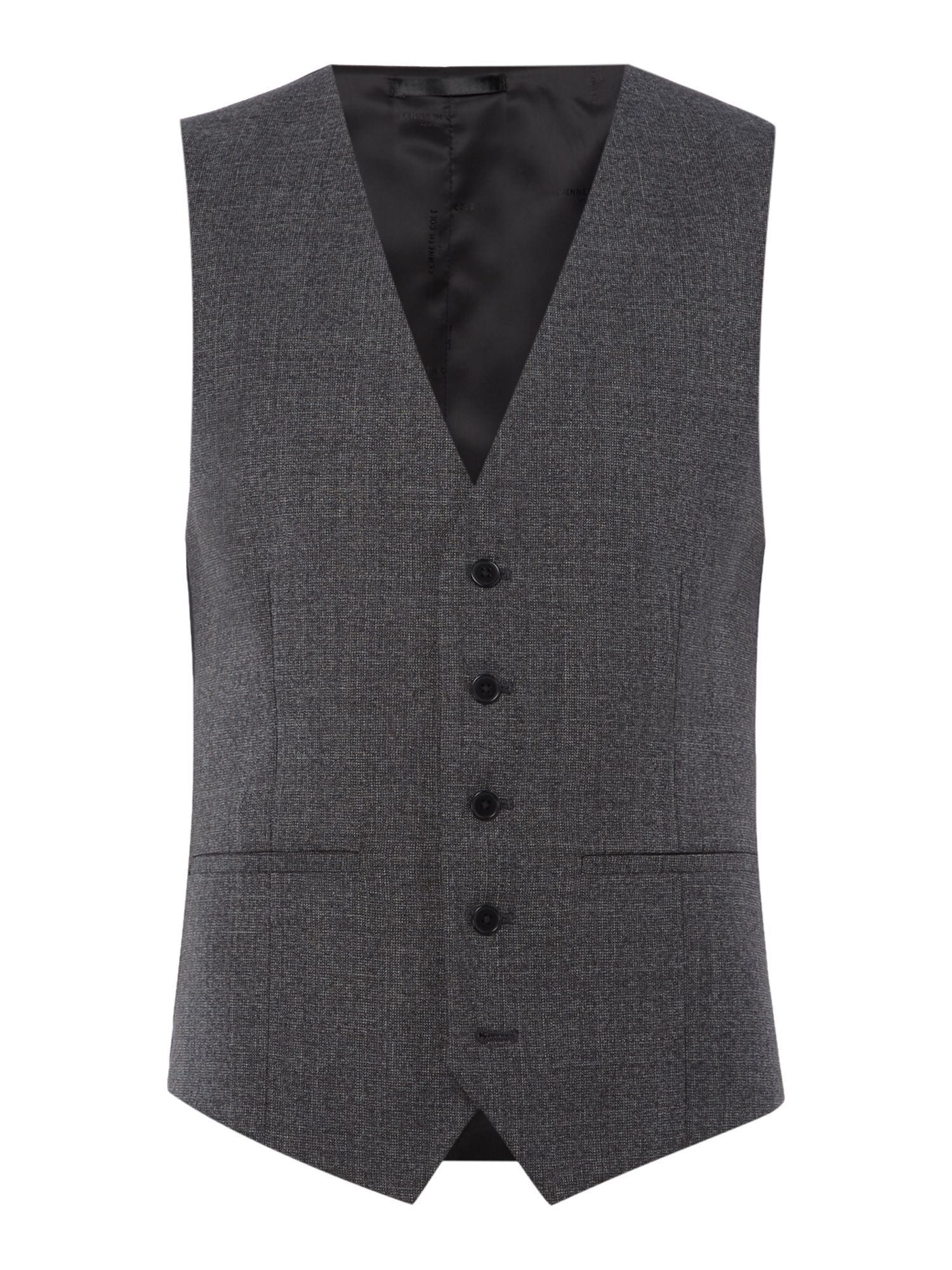 Mens Kenneth Cole Parsons Slim Fit Textured Waistcoat Charcoal