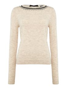 Armani Jeans Embellished neck jumper