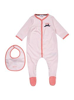 Baby girls Cotton pyjamas and bib set