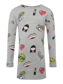 Little Marc Jacobs Girls Cartoon Print Dress