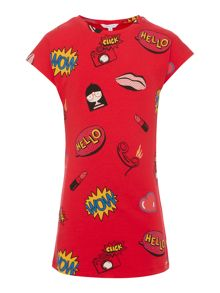 Little Marc Jacobs Girls Short sleeve fleece dress
