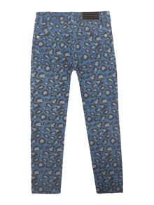 Little Marc Jacobs Girls: Denim printed trousers
