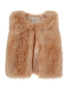 Carrement Beau Baby girls Sleeveless fur cardigan