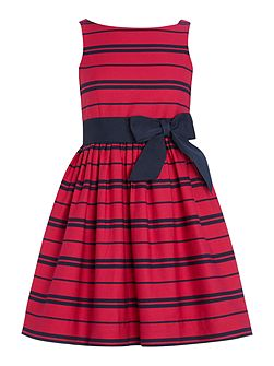 Girls Stripe Party Dress with Bow