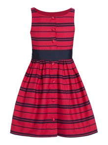 Polo Ralph Lauren Girls Stripe Party Dress with Bow