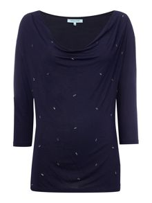 Dickins & Jones Cowl Neck Top with Embellishment