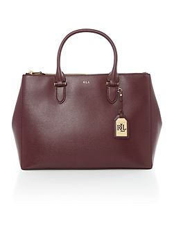 Newbury burgundy zip tote bag