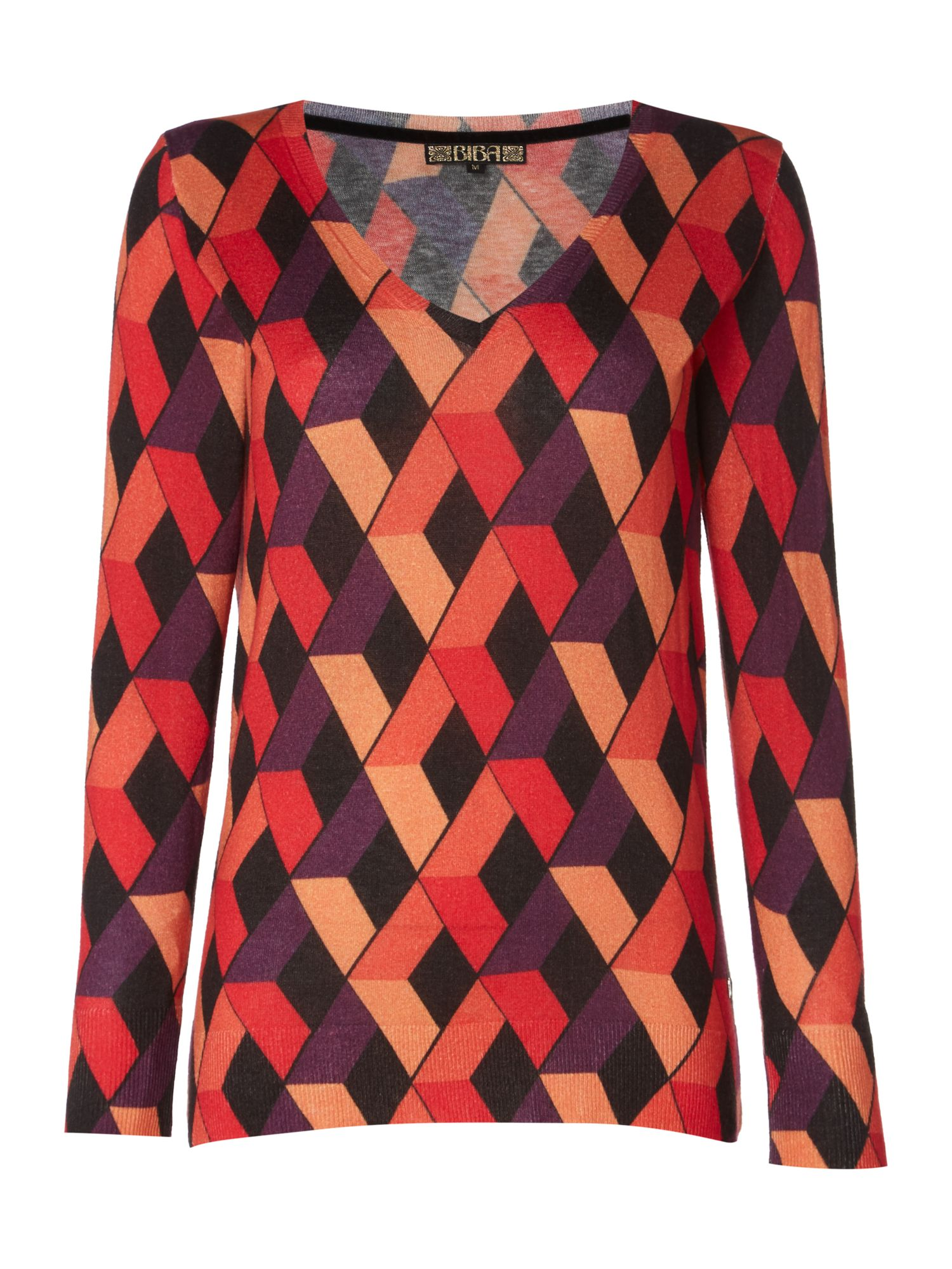 Biba Biba Diamond v neck printed jumper, Multi-Coloured
