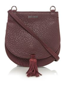 Just Cavalli Bubble calf burgundy saddle crossbody bag