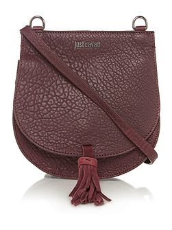 Bubble calf burgundy saddle crossbody bag