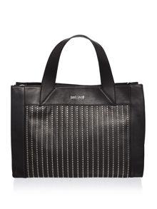 Just Cavalli Washed calf stud black medium tote