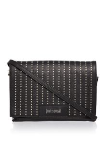 Just Cavalli Washed calf stud black crossbody bag