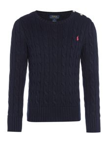 Polo Ralph Lauren Girls Crew Neck Cable Knit Jumper