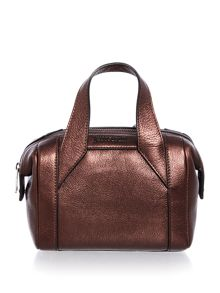 Just Cavalli Laminated tumbled burgundy small tote bag