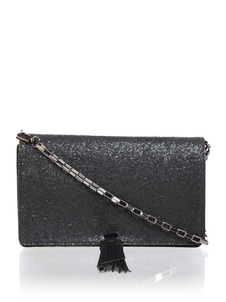 Just Cavalli Matt glittered black crossbody bag