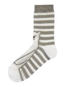 Therapy Stripe polar bear socks