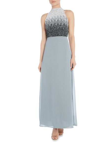 Lace and Beads High Neck Ombre Sequin Maxi Dress