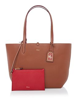 Milford tan/red olivia tote bag