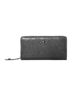 Verona black metallic zip around purse