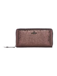 Vivienne Westwood Verona pink metallic zip around purse