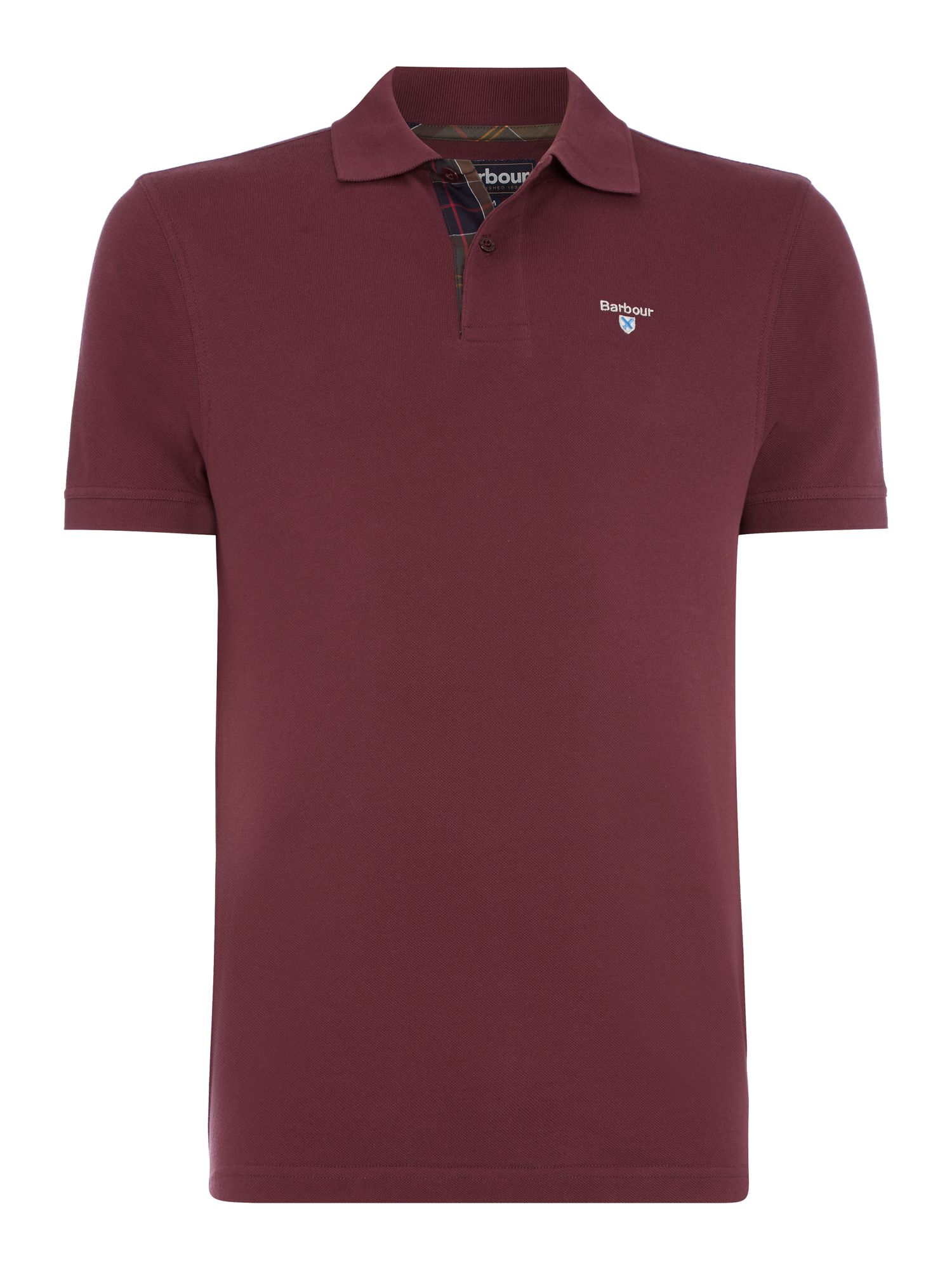 Men's Barbour Tartan Pique Polo, Merlot
