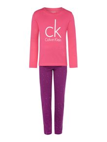 Calvin Klein Girls Big Logo Top and Bottom Nightwear