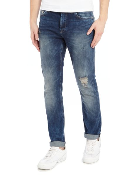 Only & Sons Rip And Repair Slim Fit Loom Jeans