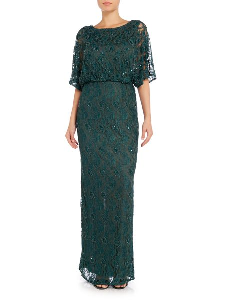 Ariella Lace blouson gown with beading