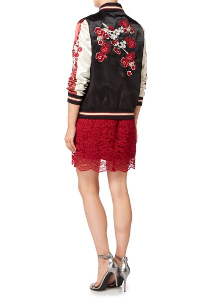 Biba Embroidered satin bomber jacket