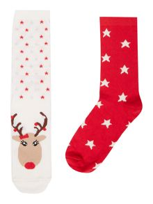 Therapy Reindeer cracker 2 pack socks