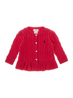 Baby Girls Cable Knit Frill Hem Cardigan