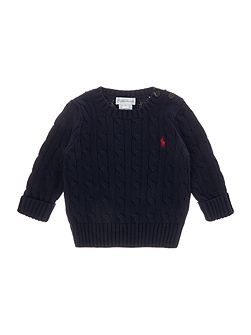 Baby Boys Cable Knit Jumper with Poppers