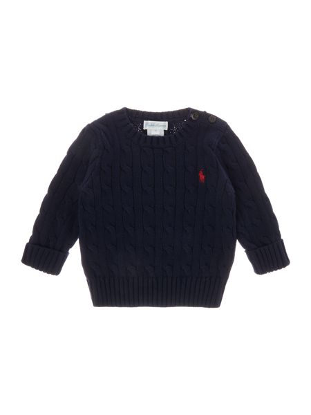 Polo Ralph Lauren Baby Boys Cable Knit Jumper with Poppers