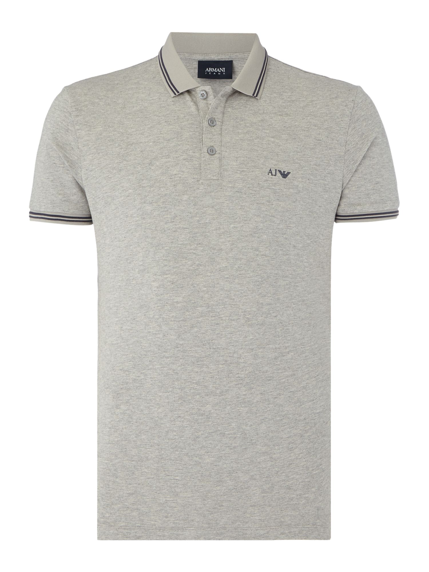 Men's Armani Jeans Regular fit tipped logo polo, Grey Marl